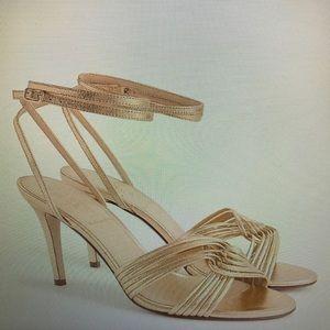 J Crew Metallic Gold Strappy Heels 7 #H5566
